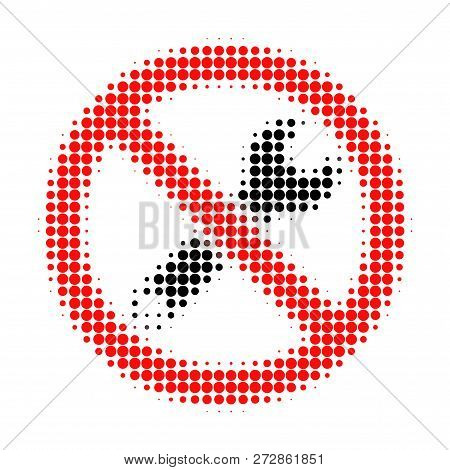 Forbidden Repair Halftone Dotted Icon. Halftone Pattern Contains Round Elements. Vector Illustration