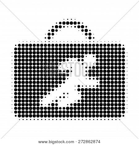 Career Case Halftone Dotted Icon. Halftone Pattern Contains Circle Pixels. Vector Illustration Of Ca