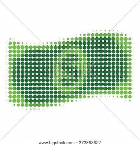 Waving Dollar Banknote Halftone Dotted Icon. Halftone Array Contains Circle Pixels. Vector Illustrat