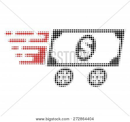 Dollar Delivery Wagon Halftone Dotted Icon With Fast Speed Effect. Vector Illustration Of Dollar Del