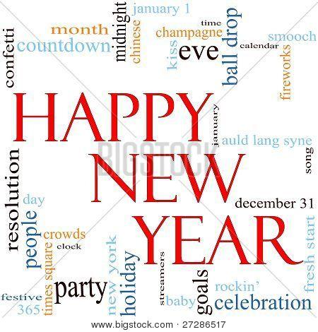 Feliz año nuevo concepto de Cloud de palabra
