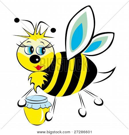 The bee is in the clutches of a jar of honey