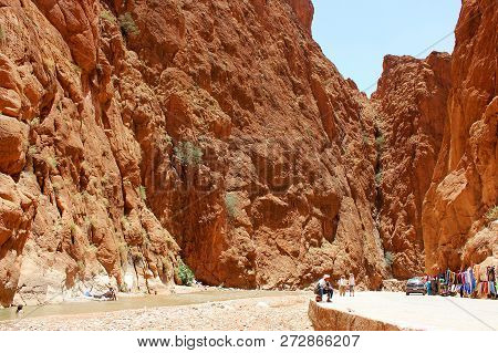 Todra, Morocco - June 28, 2014:the Todgha Gorges Are A Series Of Limestone River Canyons, Or Wadi, I