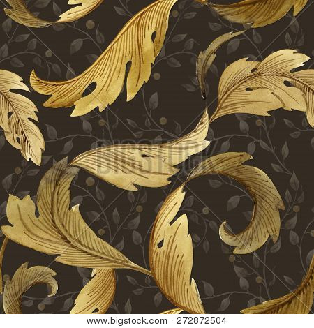 Beautiful Seamless Pattern With Flowers In Modern Art Nouveau Tiffany Retro Vintage Style