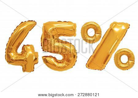 Forty Five Percent From Orange Color Balloons On Isolated Background. Discounts And Sales