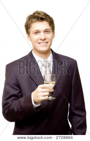Handsome Businessman With A Glass Of Champagne
