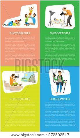 Photographer Profession Vertical Banners. Family Portrait, Still Life Picture, Landscape Photo And P