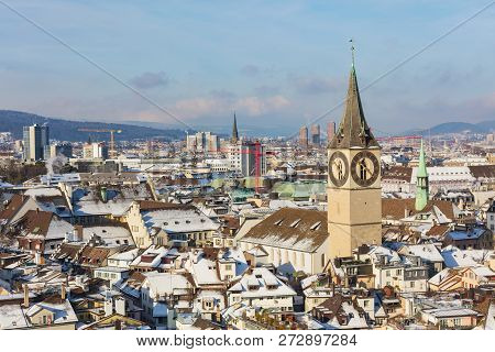 The City Of Zurich In Switzerland As Seen From The Tower Of The Grossmunster Cathedral In Winter, To