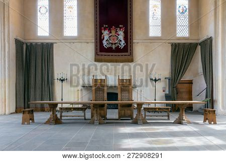 Stirling Castle, Scotland - May 19 2018: Medieval Room Of Stirling Castle With Table, Chairs And Wal