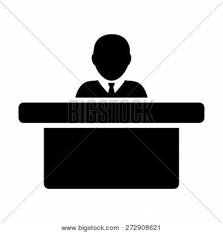 Employer Icon Vector Male Person Avatar Symbol With Table For Office Work In Flat Color Glyph Pictog