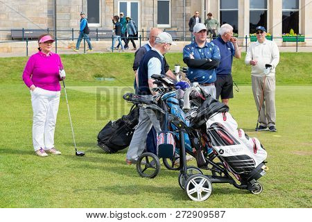 St Andrews, Scotland - May 21, 2018: People Ready To Play Golf At Famous Golf Course St Andrews In S