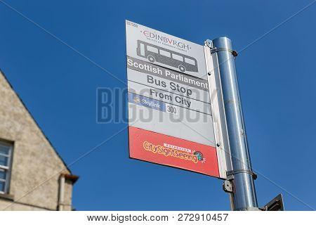 Edinburgh, Scotland - May 24, 2018: Information Panel At Bus Stop Near Scottish Parliament Of Edinbu