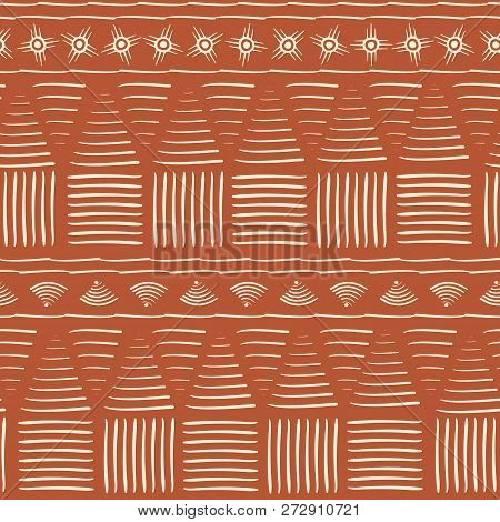 Contemporary Orange And White Tribal Seamless Vector Pattern With Hand Drawn Abstract Shapes. Great