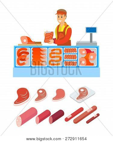 Supermarket Salesperson Of Butcher Department Isolated Set Of Products Vector. Pork And Beef, Lamb A