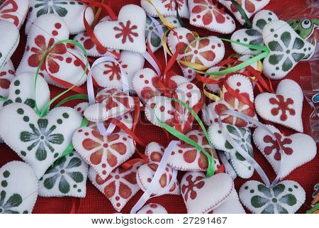 little hearts at the traditional fair of Bucharest before Christmas