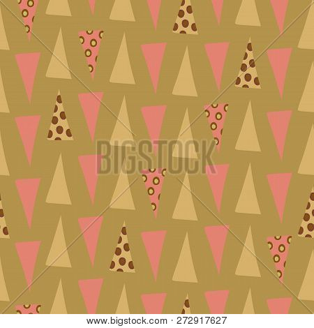Quirky Pink And Green Triangles With Circle Overlay In Geometric Seamless Vector Pattern On Soft Gre