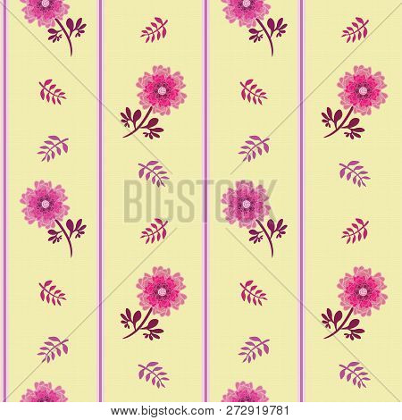 Elegant Pink Flowers, Leaves And Stripes In Vertical Seamless Vector Halfdrop Repeat Pattern On Soft