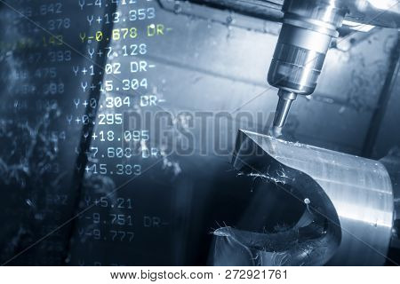 The Abstract Scene Of  5-axis Cnc Milling Machine And The G-code Data Cutting The Mold Part.the Hi-p