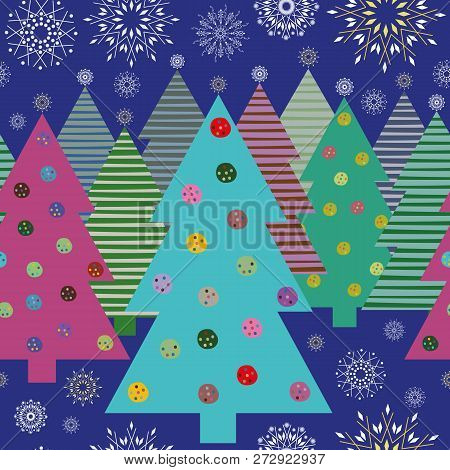 Vibrant Multicolor Christmas Trees And Snowflakes At Night Seamless Vector Pattern. Great For Giftwr