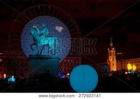 Lyon, France, December 7, 2018 : Place Bellecour During Festival Of Lights. For 4 Nights, Different