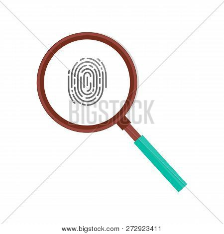 Fingerprint In Magnifying Glass Vector Icon Isolated. Personal Identity Sign, Detective Research Con