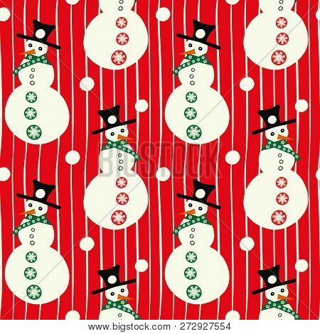 Vector Red And White Smiley Snowmen With Hats, With Snowballs Linear Seamless Pattern Background. Pe