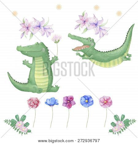 Crocodiles Digital Clip Art Cute Animal Croc And Flowers For Design Card, Posters, Cute Drawing Char