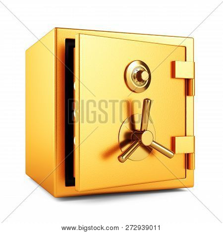 Open Metal Bank Safe On White Background
