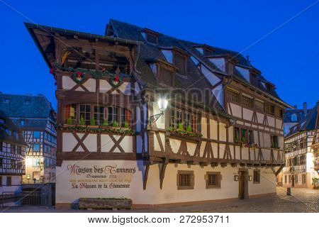 STRASBOURG, FRANCE - NOVEMBER 29 2018 - La maison de Tanneurs restaurant timber house in the petite France area in Strasbourg France