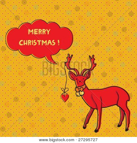 Christmas stylized card with deer