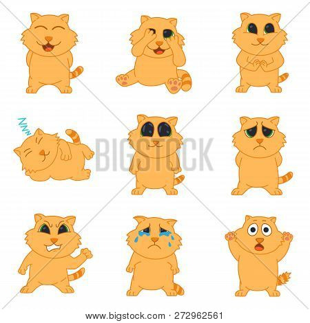 Emotions Cat. Set Icons Of Emotions Cat In Flat Style. Collection Stickers Emotions. Emotion Cat Vec