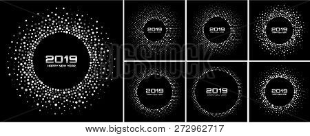 New Year 2019 Card Backgrounds Set. Glitter Paper White Confetti. Glistening Gray Disco Lights. Gray