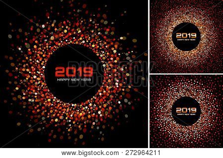 New Year 2019 Card Backgrounds Set. Red Glitter Paper Confetti. Glistening Green Disco Lights. Glow