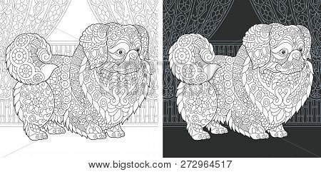 Coloring Page. Coloring Book. Colouring Picture With Pekingese Or Japanese Chin Dog Drawn In Zentang