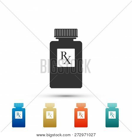 Pill Bottle With Rx Sign And Pills Icon Isolated On White Background. Pharmacy Design. Rx As A Presc