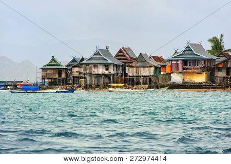Typical Village On Small Island In Komodo National Park, Nusa Tenggara, Indonesia. Komodo National P
