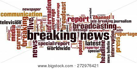 Breaking News Word Cloud Concept. Vector Illustration On White