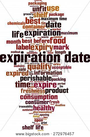 Expiration Date Word Cloud Concept. Vector Illustration On White