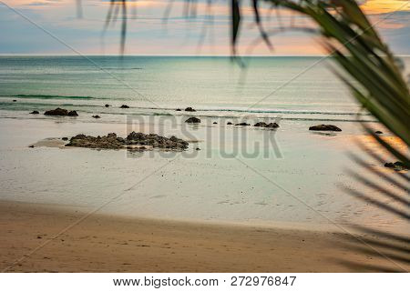 The Azure Coast, The Beach On The Island Of Thailand, The Sunset, The Rocks By The Shore And The Blu