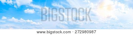 Eautiful Panorama White Clouds With Blue Sky.color Shade Gradient From White To Blue Using For Fresh