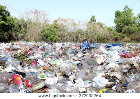 Garbage Waste Landscape Background, Many Of Waste Garbage Plastic, Bottle, Paper For Background, Pol