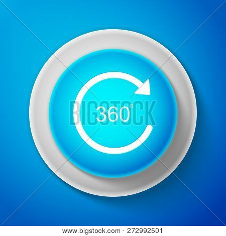 White Angle 360 Degrees Icon Isolated On Blue Background. Rotation Of 360 Degrees. Geometry Math Sym