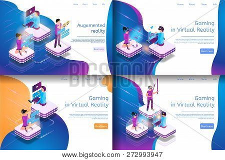 Isometric Online Communicating, Virtual Gaming. Banner Set Image Gaming In Virtual Reality, Augument