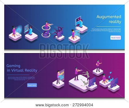 Isometric Online Communicating, Virtual Gaming. Banner Set Image Augumented Reality, Gaming In Virtu
