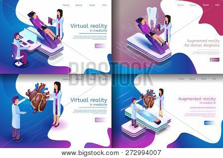 Isometric Illustration Virtual Medical Research. Banner Set Image Virtual Reality In Medicine, Augme