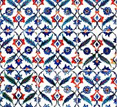 Ancient tile pattern on ceramic wall in Blue Mosque in Istanbul, Turkey. Series poster
