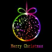 Abstract multicolored Christmas ball on black background. Vector eps10 illustration poster