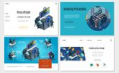 Isometric hacker activity websites set with computer password mail datacenter hacking virus trojan attacks biometric authorization protection vector illustration poster