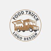Vector illustration of street food truck graphic badge set. Food old logo design. Foodstuffs white background Vintage kitchen print element with fork and knife, text and truck on grunge spot,Eps8,Eps10 poster