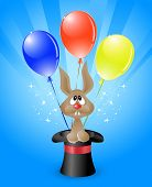 Vector illustration of amusing rabbit in a magicians top hat and bright colored balloons poster